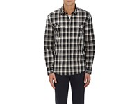 John Varvatos Men's Plaid Poplin Shirt Black