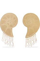 Mercedes Salazar Gold Tone Faux Pearl Earrings One Size