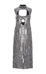 Proenza Schouler Sleeveless Sequin Dress White Black