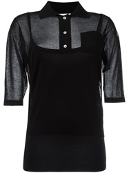 Moncler Semi Sheer Knitted Polo Shirt Women Cotton Polyimide L Black
