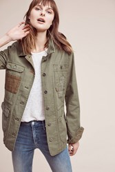 Anthropologie Patched Utility Jacket Moss