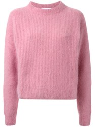 Le Ciel Bleu Round Neck Knit Sweater Pink And Purple
