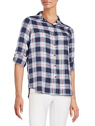 Candc California Windowpane Rolled Up Sleeves Shirt Plaid