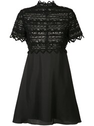 Zac Posen High Neck Lace Dress Black