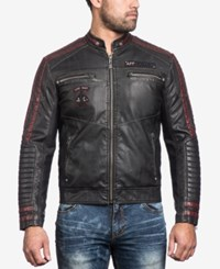 Affliction Men's Street Fighter Faux Leather Moto Jacket Black