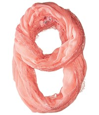 Betsey Johnson Lace Border Infinity Loop Pink Scarves