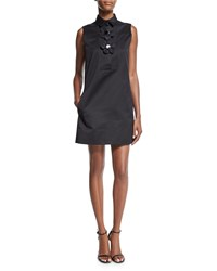Victoria By Victoria Beckham Sleeveless Collared Shift Dress Black