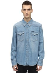 Calvin Klein Jeans Cotton Denim Western Shirt Blue