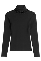 Victoria Beckham Turtleneck Pullover With Ruffles Black