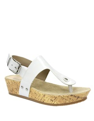 Ellen Tracy Inga Wedge Sandals White
