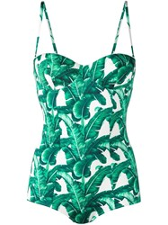 Dolce And Gabbana Banana Leaf Print Swimsuit Green