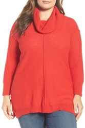 Vince Camuto Exposed Seam Cowl Neck Pullover Plus Size Red