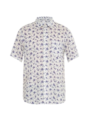 120 Lino Stripe And Floral Print Short Sleeved Shirt