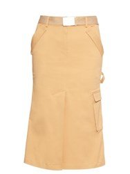 Rosie Assoulin Cotton Twill Midi Skirt Khaki