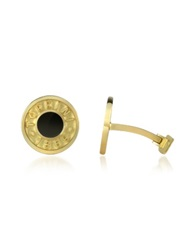 Torrini Coin 1369 Onyx And 18K Yellow Gold Round Cufflinks