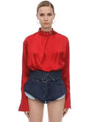 Marques Almeida Buckle Collar Silk Satin Blouse Red