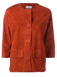 Desa Collection Concealed Fastening Cropped Jacket Red