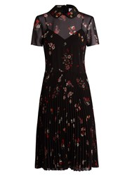 Red Valentino Embellished Collar Short Sleeved Crepe Dress Black Multi