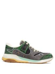 Gucci Ultrapace Croc Effect Leather And Suede Trainers Green