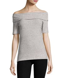 Neiman Marcus Marilyn Striped Ribbed Top Black White