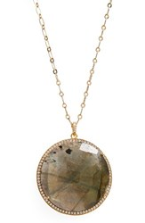 Susan Hanover Women's Large Semiprecious Stone Pendant Necklace Labradorite Gold