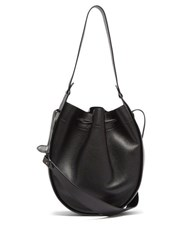 The Row Xl Drawstring Grained Leather Bag Black