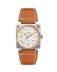 Bell And Ross Br03 92 18K Rose Gold Bezel Watch 42Mm Ivory Tan