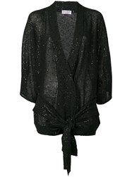 Brunello Cucinelli Sequin Belted Cardigan Black