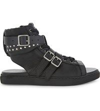The Kooples Leather Open Top Trainers With Straps Bla01
