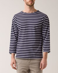 Armor Lux White Marine Blue 3 4 Sleeves Jersey Sailor Top