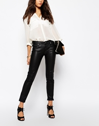 7 For All Mankind Leather Look Skinny Jean Trousers Black