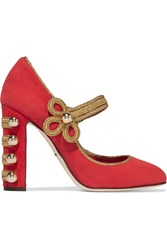 Dolce And Gabbana Embellished Suede Mary Jane Pumps Red