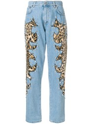 Moschino Studded Leopard Print Inset Jeans Blue
