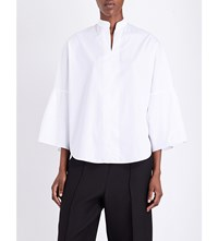 Valentino Bell Sleeve Cotton Poplin Shirt Wht