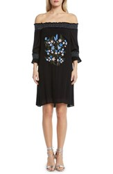 Willow And Clay Embroidered Off The Shoulder Dress Black