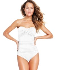 Anne Cole Twisted Front Bandeau One Piece Swimsuit Women's Swimsuit White