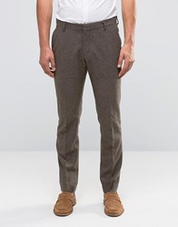 Selected Homme Slim Smart Trouser In Wool Mix Brown