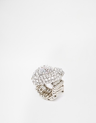Lipsy Encrusted Heart Ring Silver
