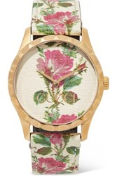 Gucci G Timeless Floral Print Leather And Gold Tone Watch White