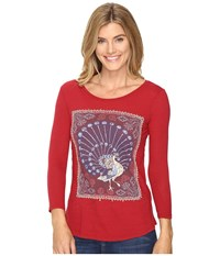 Lucky Brand Peacock Rug Tee Rio Red Women's T Shirt