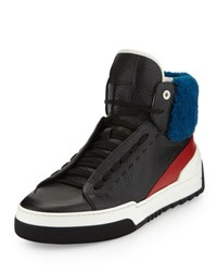 Fendi Leather High Top Sneaker With Sheep Fur Black Red Blue