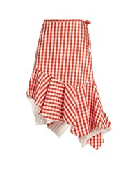 Marques Almeida Asymmetric Gingham Cotton Skirt Orange