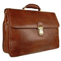 Chiarugi Men's Genuine Leather Double Gusset Briefcase Brown