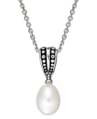 Honora Style Cultured Freshwater Pearl Pallini Pendant Necklace In Sterling Silver 9Mm Black
