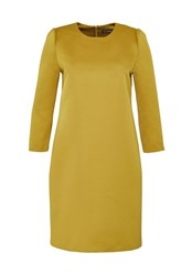 Hallhuber Satin Dress With Three Quarter Sleeves Yellow