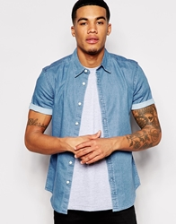 Asos Stretch Shirt In Short Sleeve With Mid Wash Denim Midwash