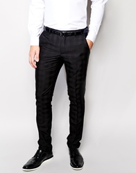 Vito Tonal Check Suit Trousers In Slim Fit Black