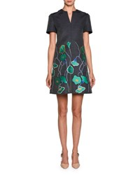 Giorgio Armani Short Sleeve Floral Denim Dress Blue Green