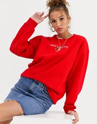Daisy Street Relaxed Sweatshirt With Salt Lake City Graphic Red