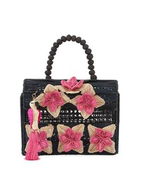 Mercedes Salazar Iraca Palm Threaded Fabric Top Handle Bag Black Pink
